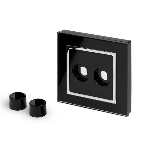 RetroTouch 2 Gang LED Dimmer Plate Black Glass CT 02071